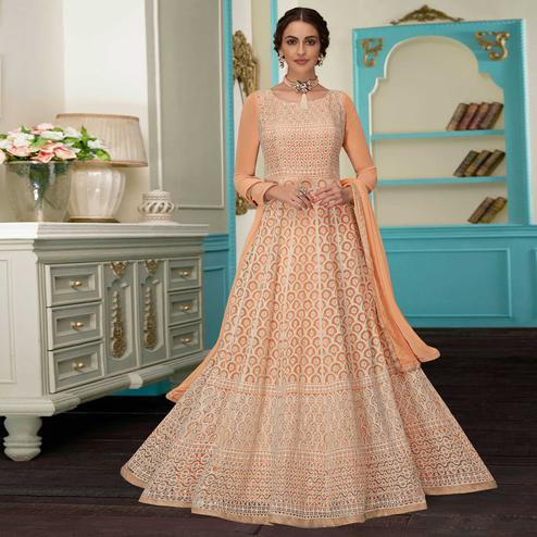 Hypnotic Peach Colored Partywear Embroidered Faux Georgette Suit