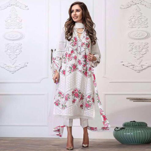 Desirable White Colored Partywear Embroidered Cotton Dress Material