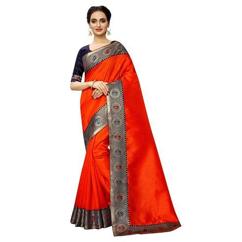 Trendy Orange Colored Festive Wear Printed Georgette saree