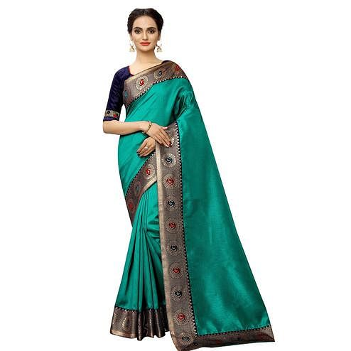Radiant Turquoise Green Colored Festive Wear Printed Georgette saree