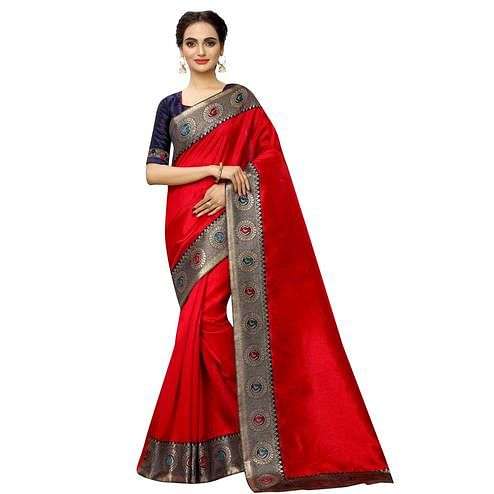 Pleasant Red Colored Festive Wear Printed Georgette saree