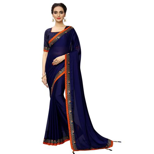 Mesmeric Navy Blue Colored Party Wear Printed Georgette Saree