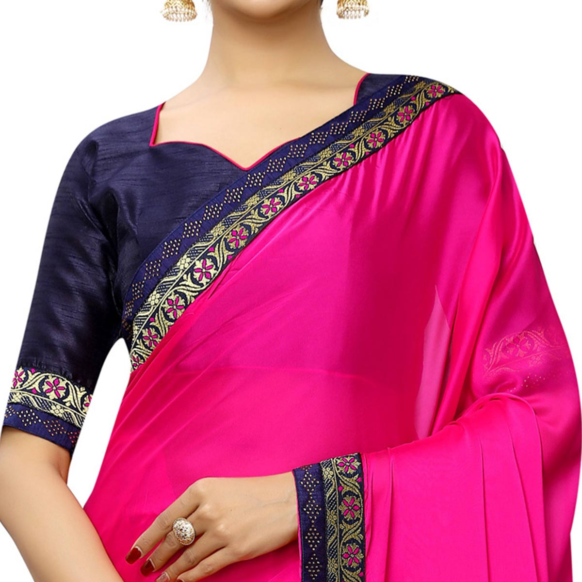 Unique Rani Pink Colored Party Wear Printed Georgette Saree