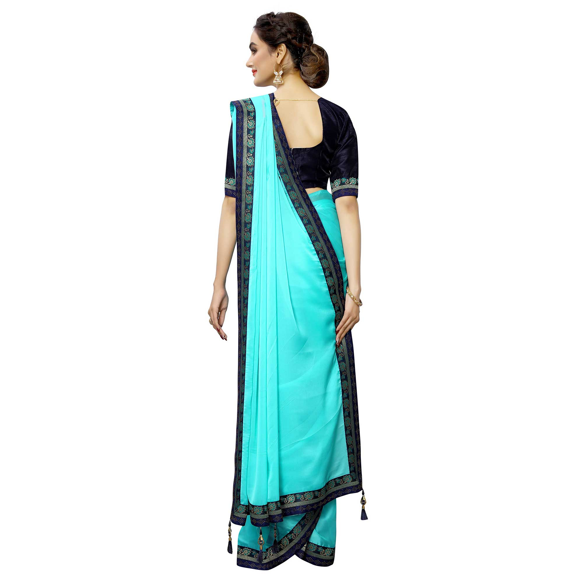 Amazing Sky blue Colored Party Wear Printed Georgette Saree