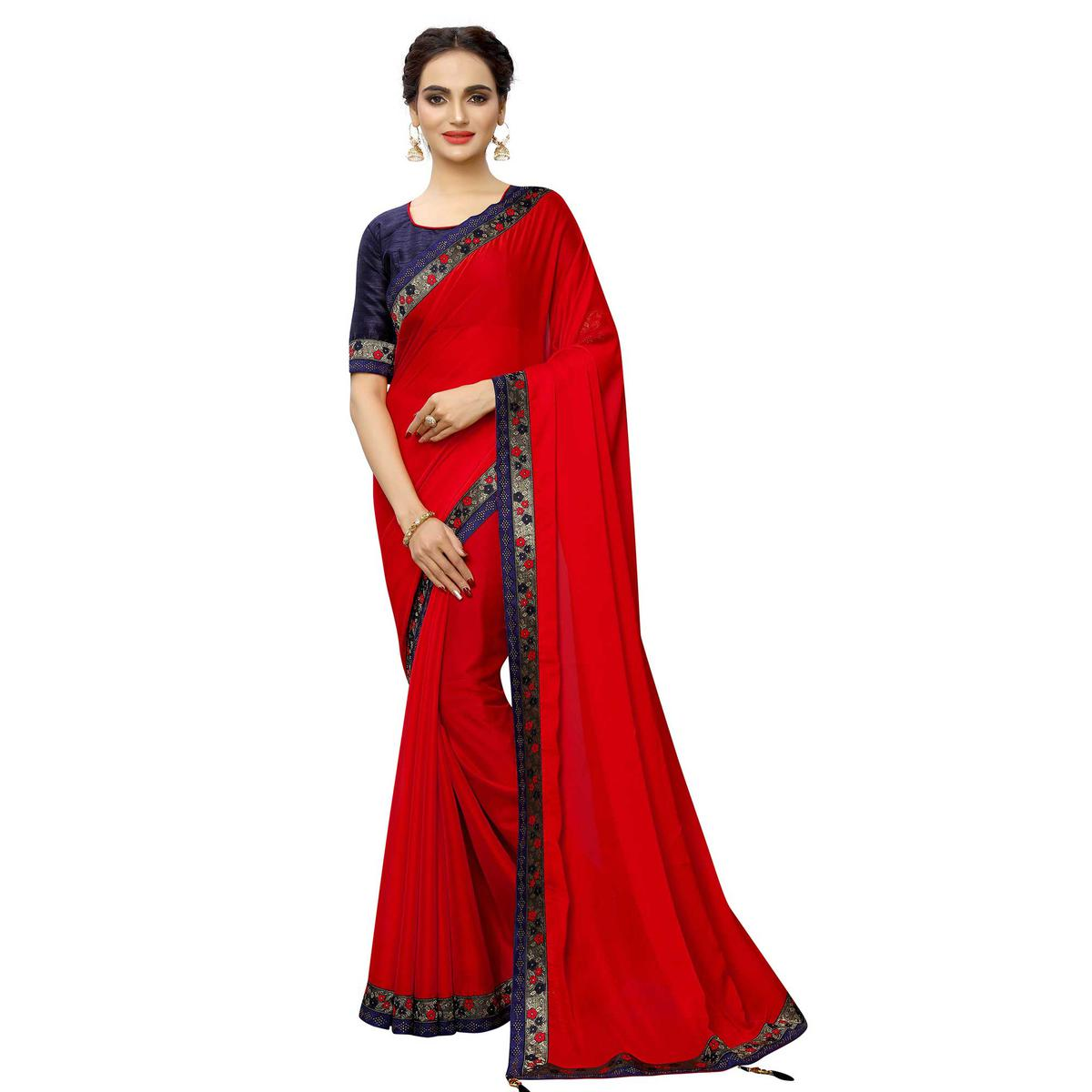 Gorgeous Red Colored Party Wear Printed Georgette Saree
