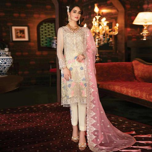 Unique Cream Colored Party Wear Embroidered Georgette Pant Style Suit