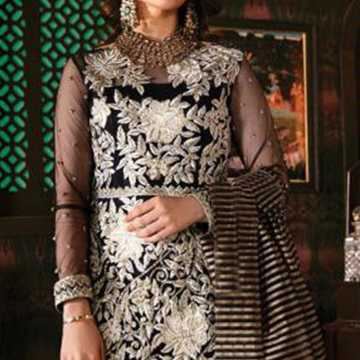 Ideal Black Colored Party Wear Embroidered Georgette Pant Style Suit