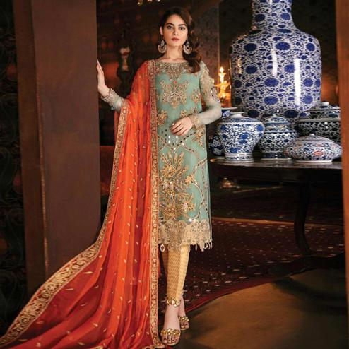 Gorgeous Light Green Colored Party Wear Embroidered Georgette Pant Style Suit