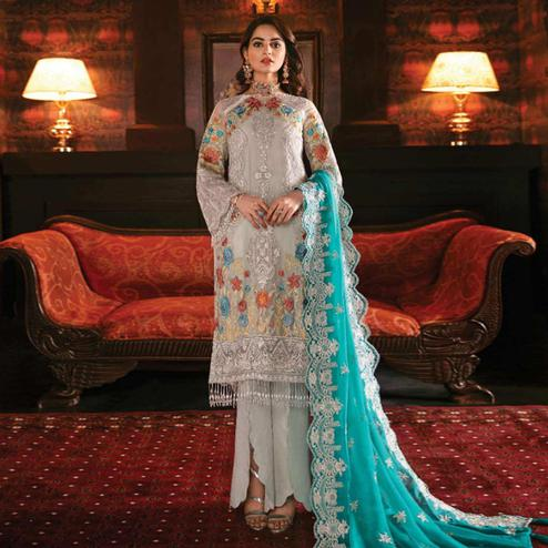Imposing Slate Grey Colored Party Wear Embroidered Georgette Pant Style Suit
