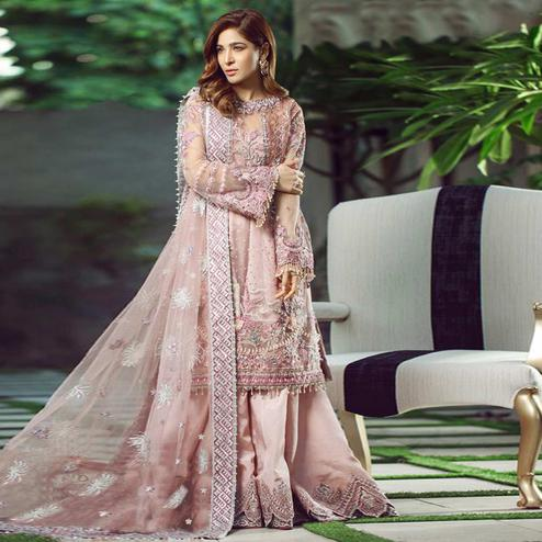 Trendy Light Pink Colored Party Wear Embroidered Net Palazzo Suit