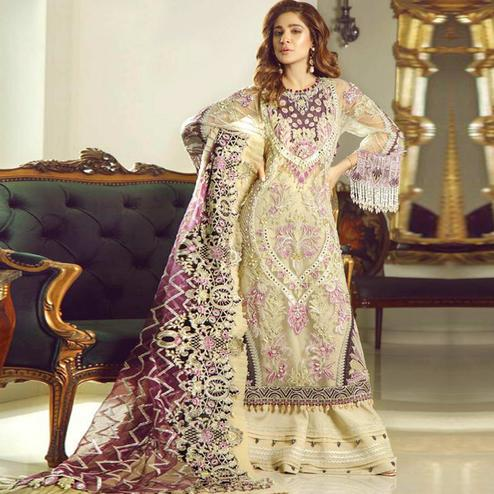 Elegant Light Yellow Colored Party Wear Embroidered Net Palazzo Suit