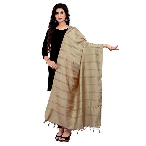 Preferable Beige Colored Festive Wear Cotton Dupatta