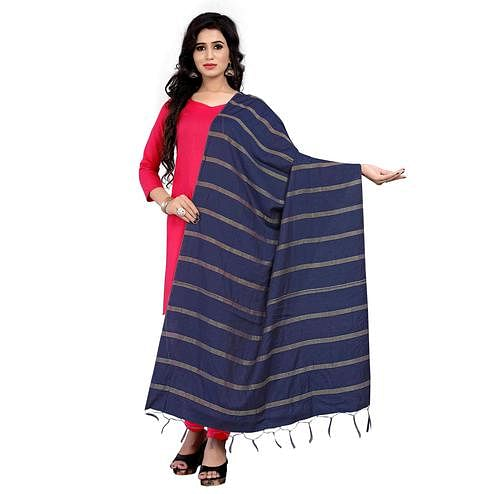 Marvellous Navy Blue Colored Festive Wear Cotton Dupatta