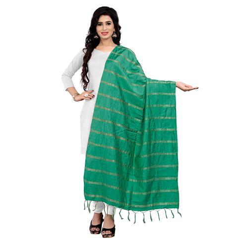 Flamboyant Green Colored Festive Wear Cotton Dupatta