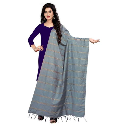 Pretty Grey Colored Festive Wear Cotton Dupatta