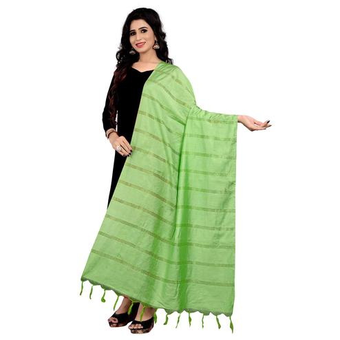 Alluring Light Green Colored Festive Wear Cotton Dupatta