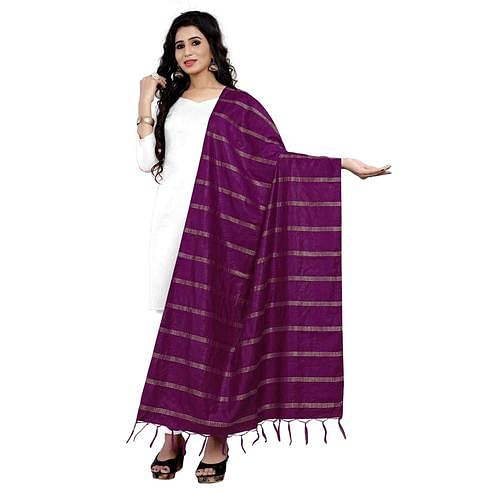Stunning Purple Colored Festive Wear Cotton Dupatta