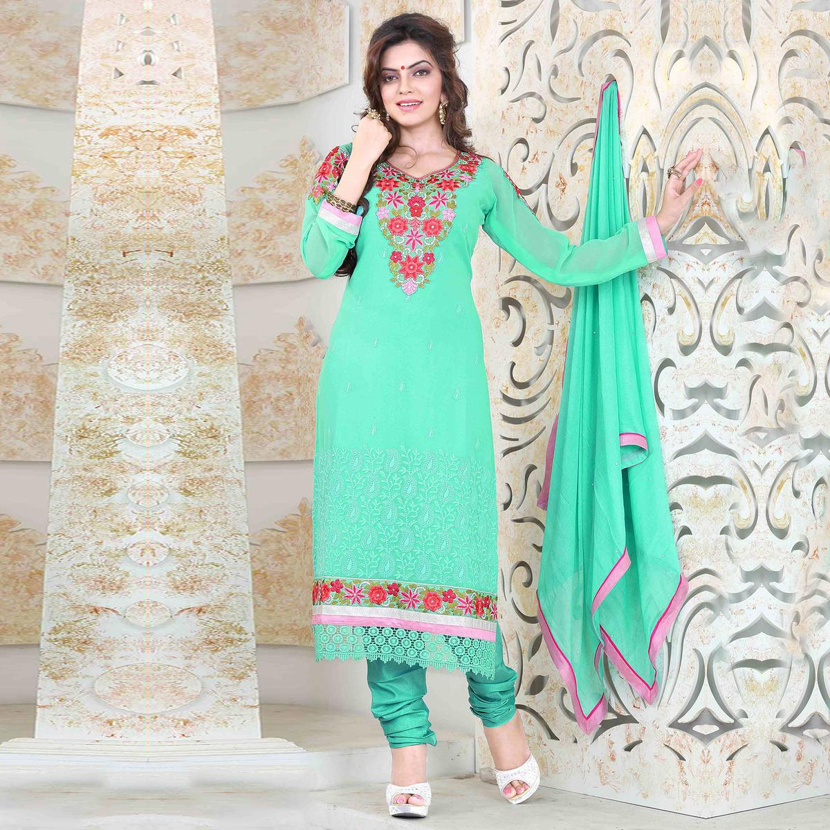 Green Georgette Semi Stitched Suit