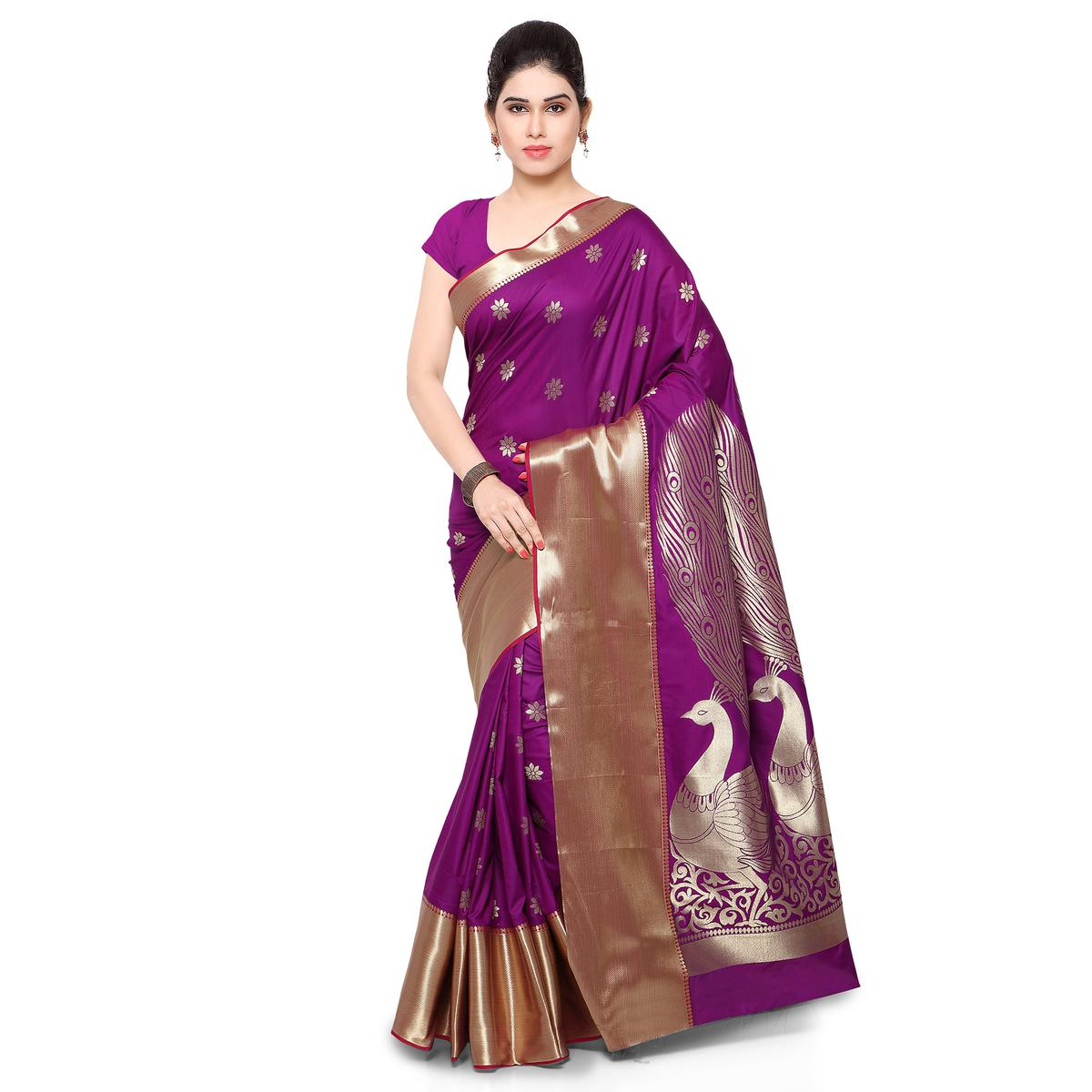 Purple Art Silk Big Border Saree