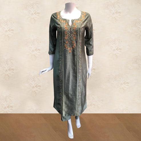 Adorning Grey Colored Partywear Embroidered Silk Kurti-Palazzo Set
