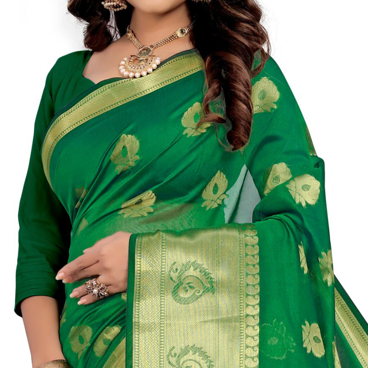 Magnetic Green Colored Festive Wear Woven Silk Saree