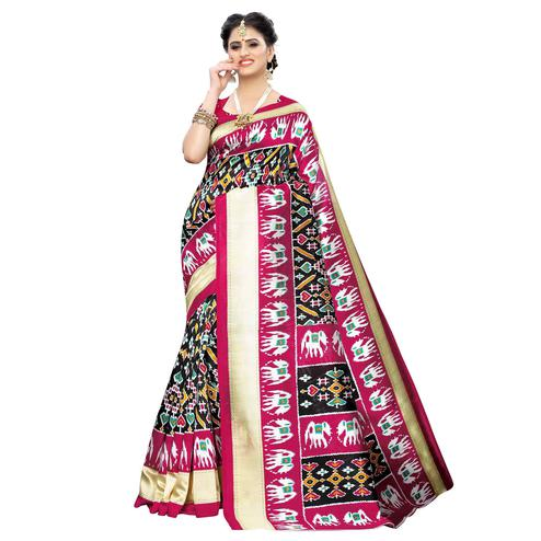 Arresting Black Colored Casual Printed Art Silk Saree