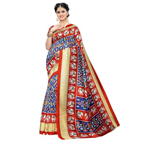 Beautiful Blue Colored Casual Printed Art Silk Saree