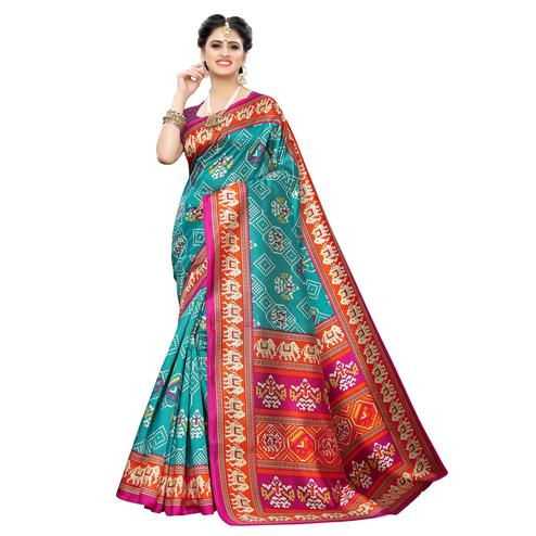 Delightful Rama Blue Colored Casual Printed Art Silk Saree