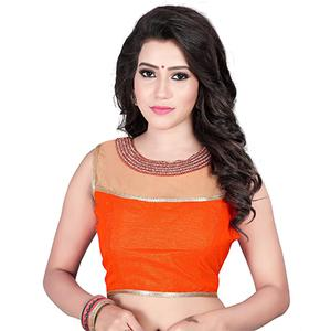 Orange Round Neck Banglori Silk Blouse