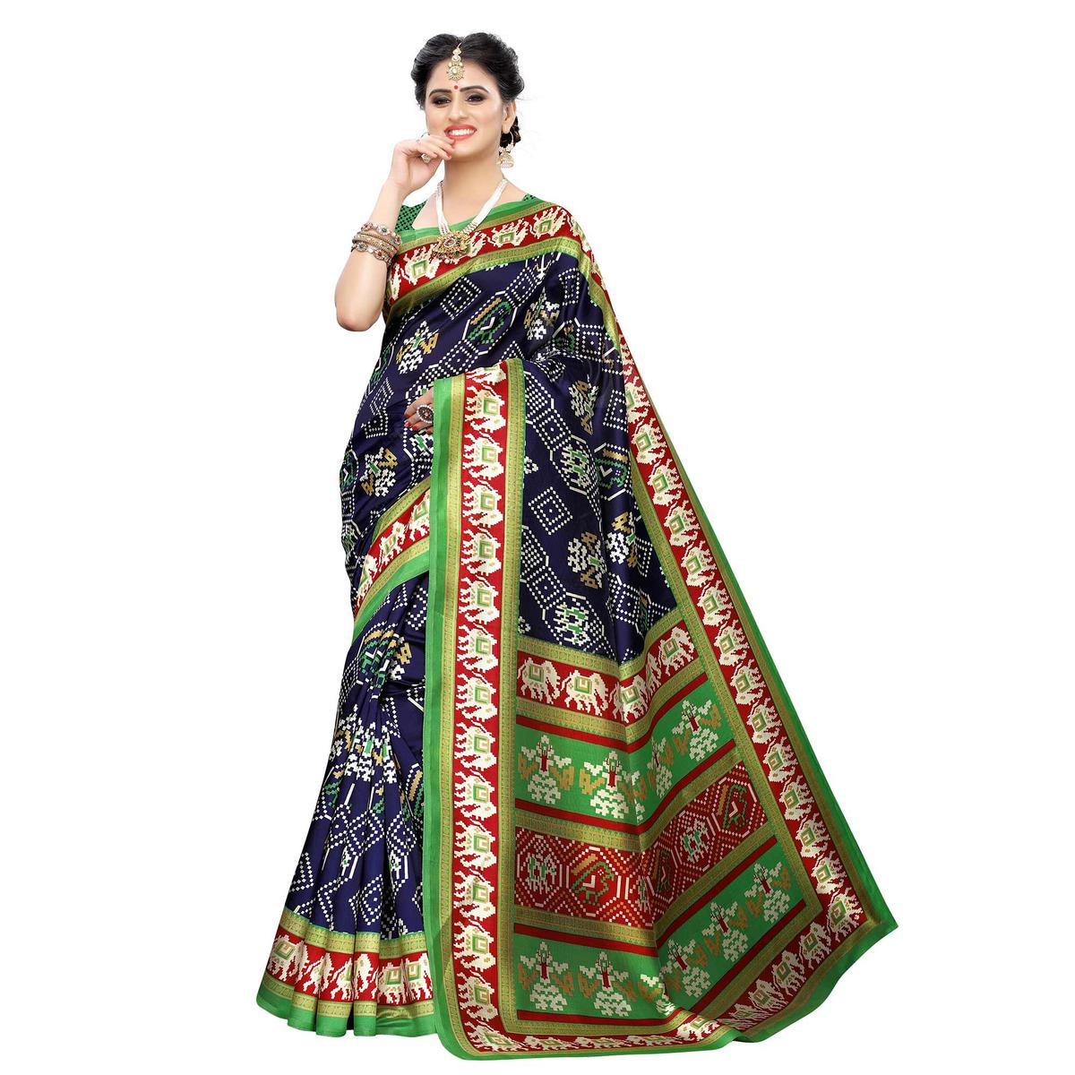 Engrossing Navy Blue Colored Casual Printed Art Silk Saree
