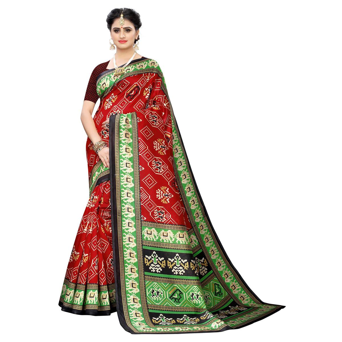 Captivating Red Colored Casual Printed Art Silk Saree