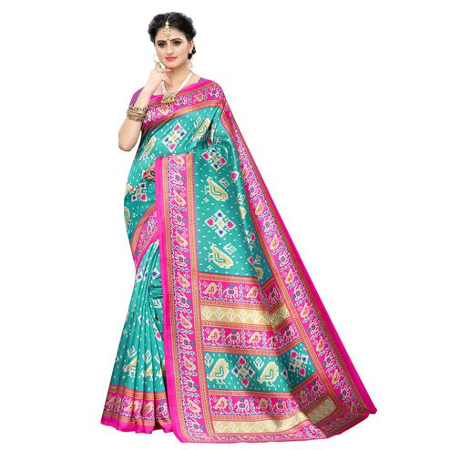 Innovative Aqua Blue Colored Casual Printed Art Silk Saree