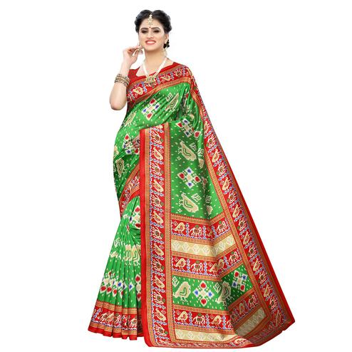 Eye-catching Green Colored Casual Printed Art Silk Saree