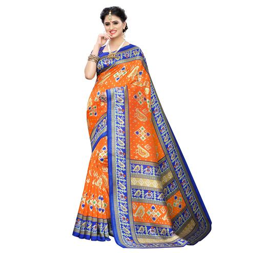 Fantastic Orange Colored Casual Printed Art Silk Saree