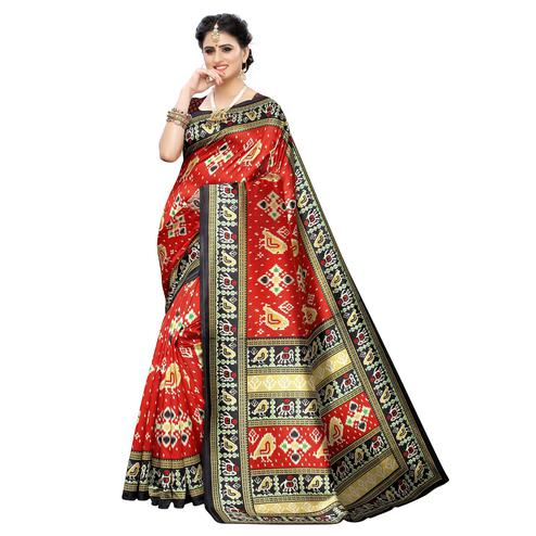 Amazing Red Colored Casual Printed Art Silk Saree