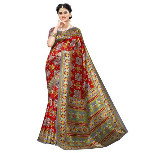 Blissful Maroon Colored Casual Printed Art Silk Saree