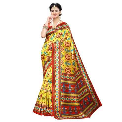 Imposing Yellow Colored Casual Printed Art Silk Saree