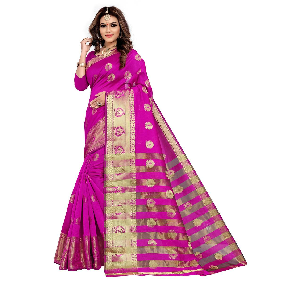 Flattering Pink Colored Festive Wear Woven Silk Saree