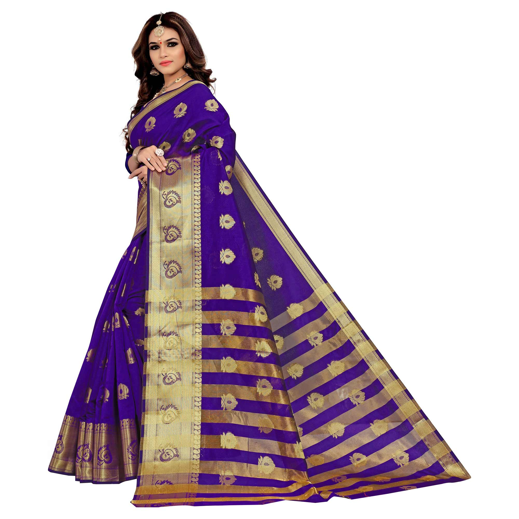 Excellent Violet Colored Festive Wear Woven Silk Saree