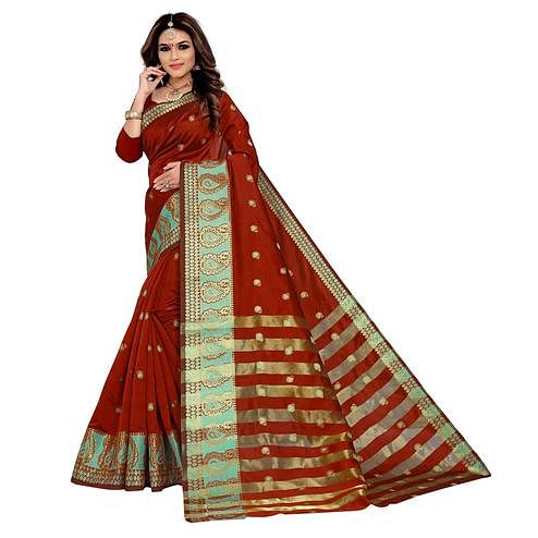 Preferable Maroon Colored Festive Wear Woven Silk Saree