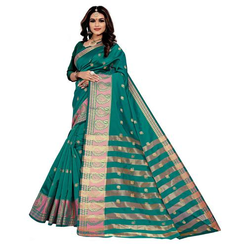 Flamboyant Rama Green Colored Festive Wear Woven Silk Saree