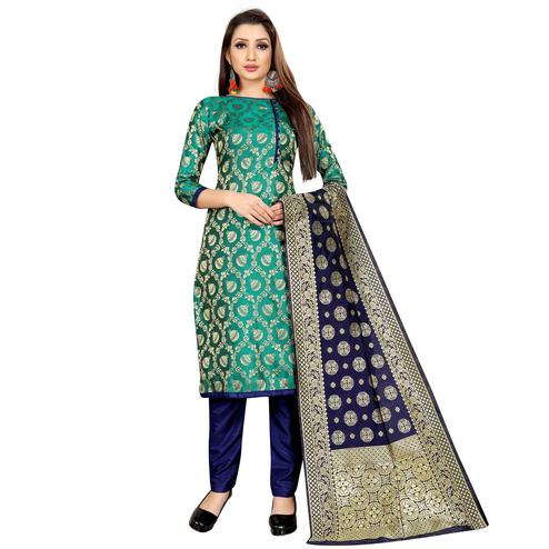 Mesmeric Turquoise Green Colored Partywear Woven Jacquard Dress Material