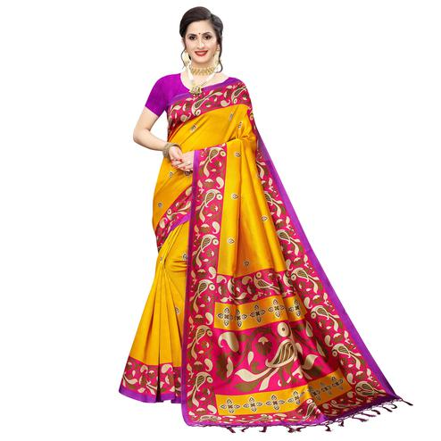 Lovely Yellow Colored Festive Wear Printed Art Silk Saree