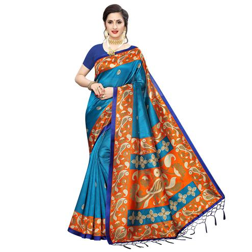 Impressive Rama Blue Colored Festive Wear Printed Art Silk Saree