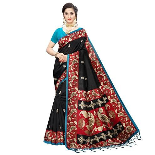 Mesmerising Black Colored Festive Wear Printed Art Silk Saree