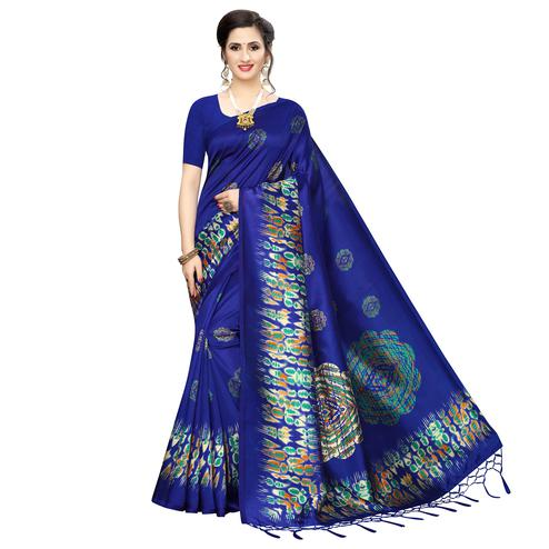 Ethnic Royal Blue Colored Festive Wear Printed Art Silk Saree