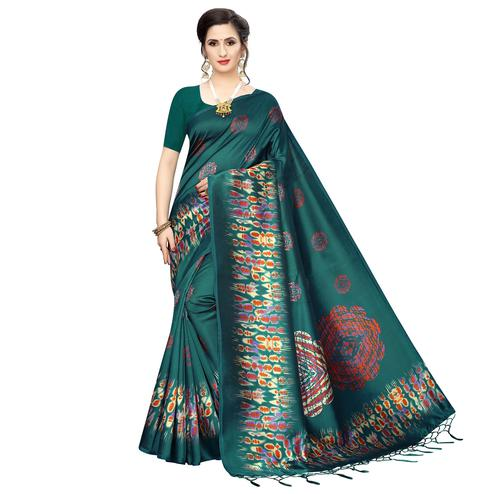 Ravishing Turquoise Green Colored Festive Wear Printed Art Silk Saree