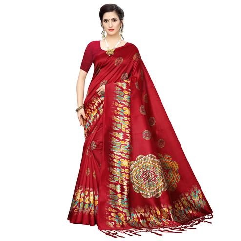 Staring Red Colored Festive Wear Printed Art Silk Saree