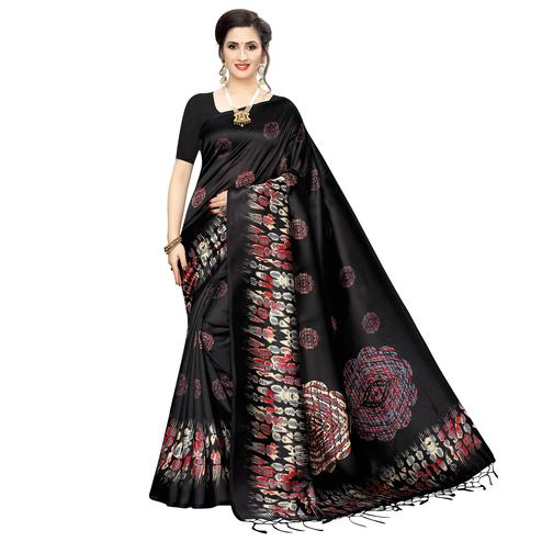 Dazzling Black Colored Festive Wear Printed Art Silk Saree