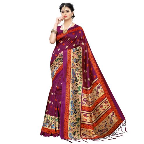 Prominent Rani Pink Colored Festive Wear Printed Art Silk Saree